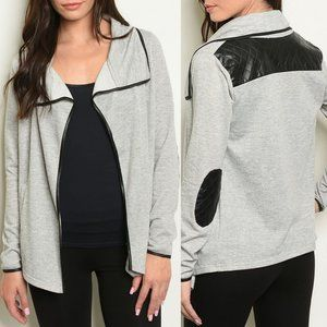 Grey Black Elbow Patch Open Front Jacket {RolyPoly